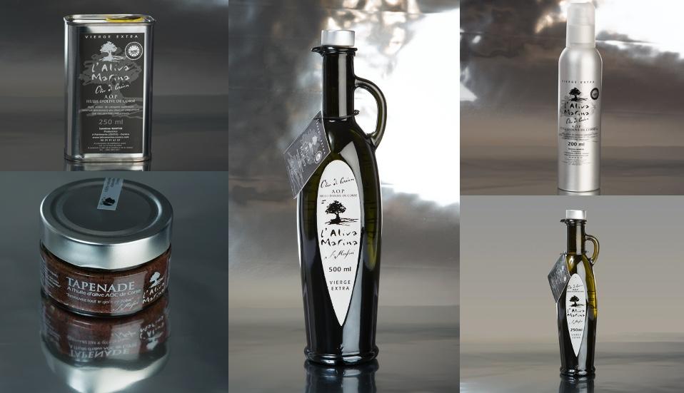 Pack huile d\' olive de Corse extra vierge AOP et tapenade (5produits)