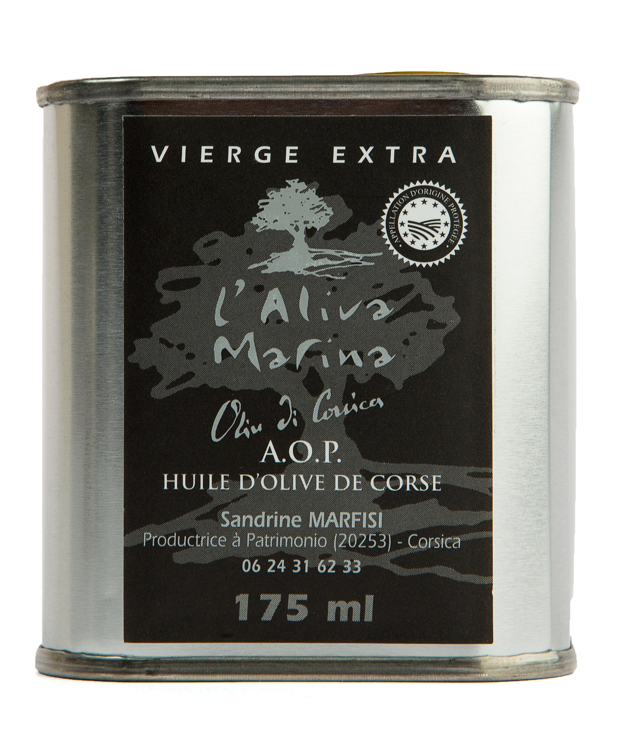 Huile d\' olive de Corse vierge extra AOP Bidon métal en 175 ml