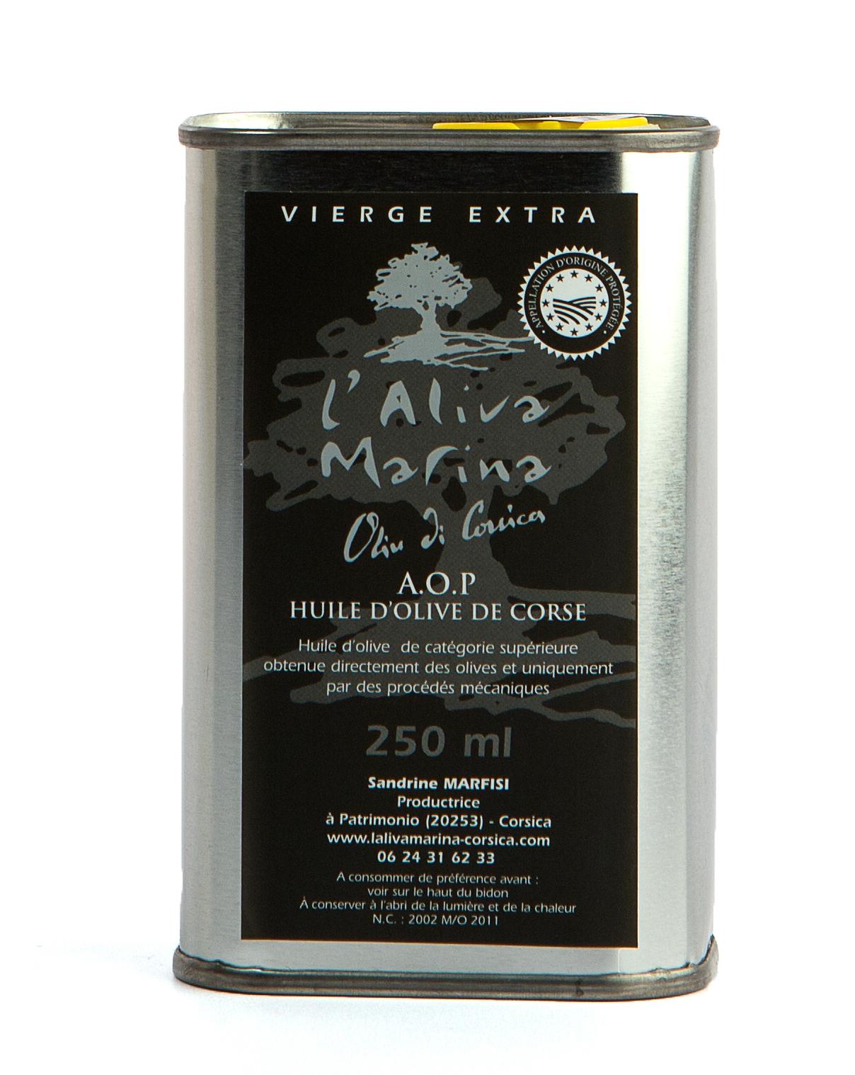 Huile d\' olive de Corse vierge extra AOP Bidon métal de 250 ml