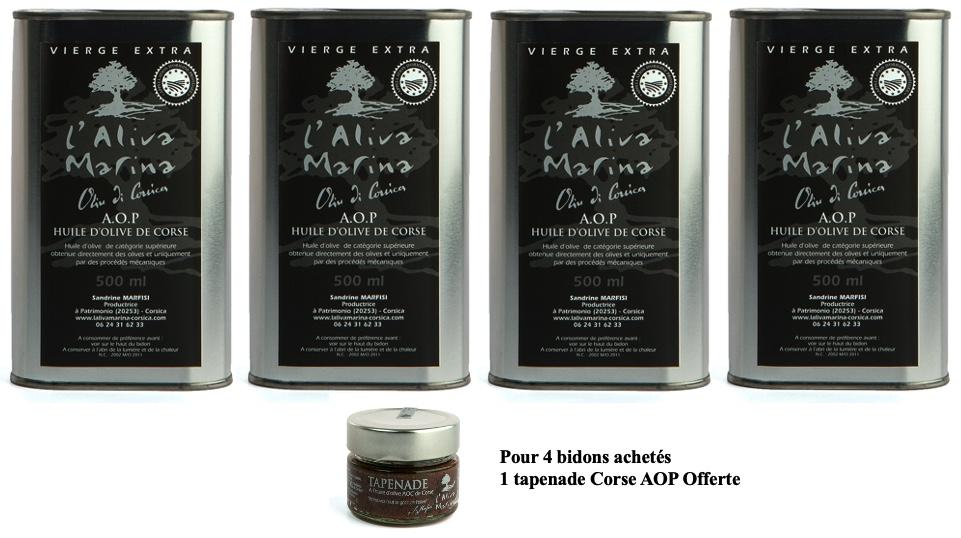 Lot 4 bidons d\' huile d\' olive de Corse Vierge Extra AOP x 500 ml