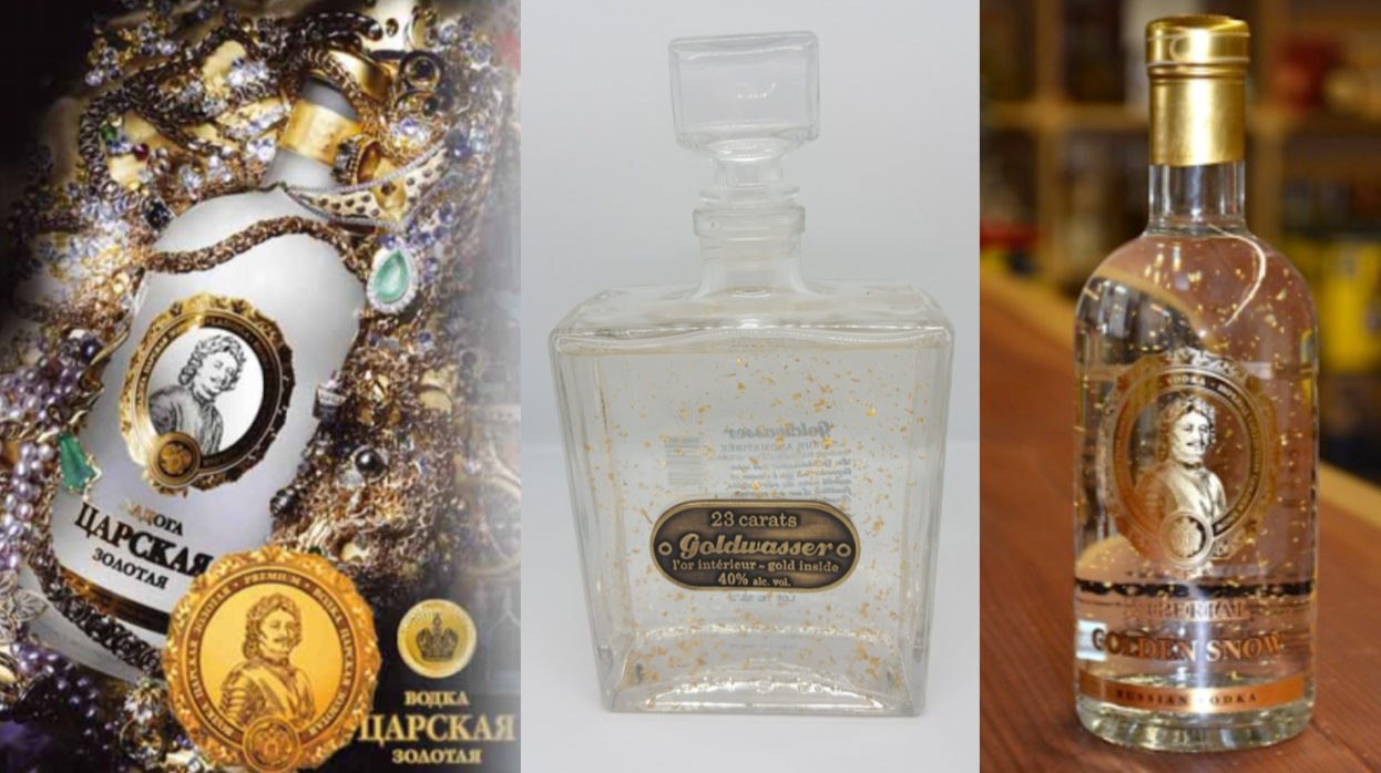 PACK DECOUVERTE Vodka GOLD :  Imperial Golden Snow- Tsarskaya Gold - Goldwasser