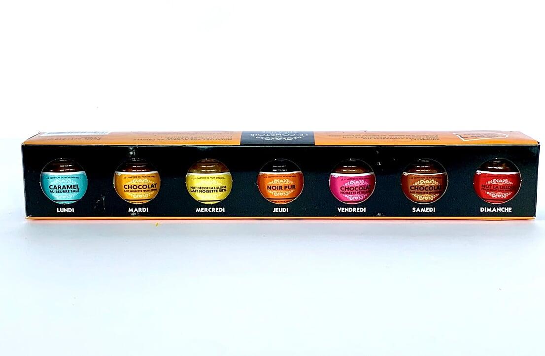 Semainier de mini-pots de pâtes à tartiner artisanales variées dans coffret