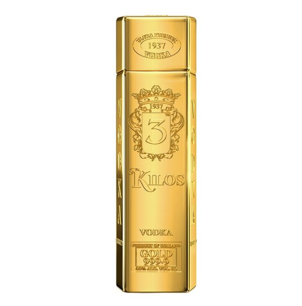 Vodka 3 Kilos Gold Ultra Premium 1 litre Lingot D\' OR