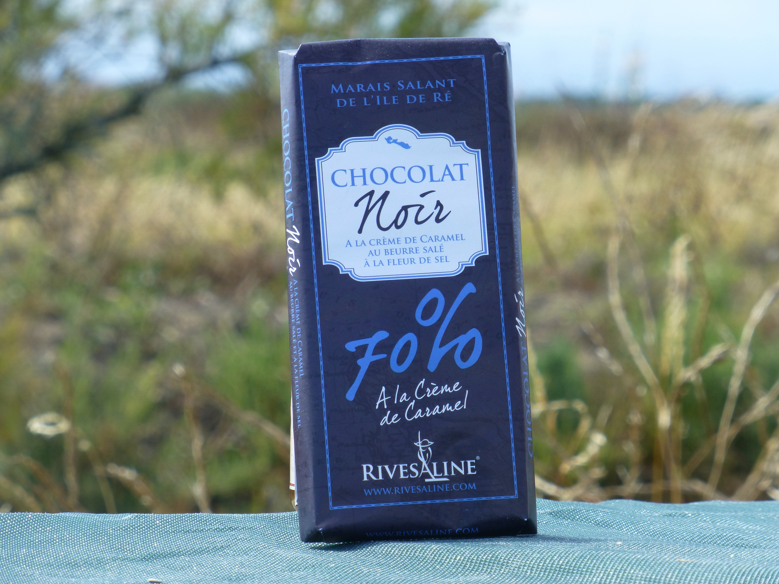 Tablette de chocolat noir fourré à la crème caramel - RIVESALINE