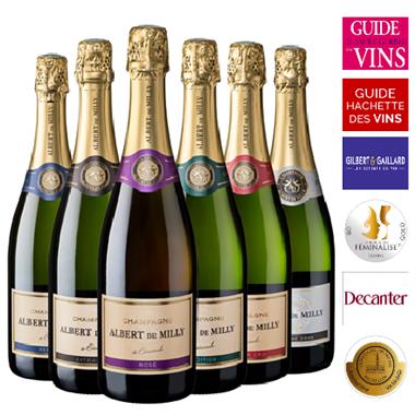Coffret Découverte Champagne Albert de Milly 6 bouteilles