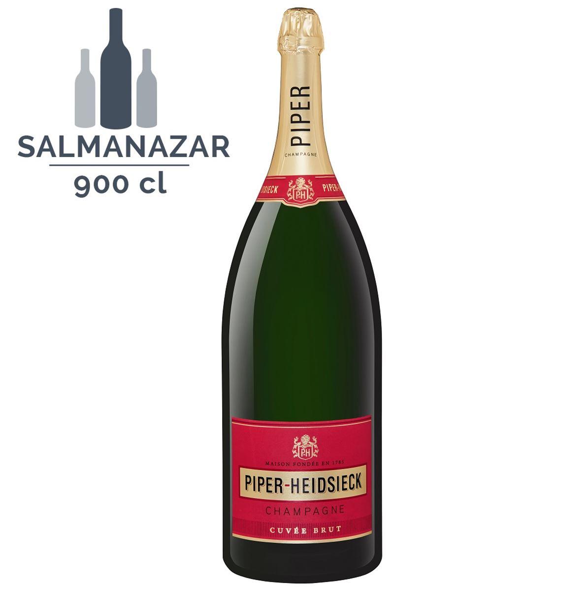 Champagne PIPER-HEIDSIECK AVEC CAISSE BOIS, CUVÉE BRUT CHAMPAGNE AOP BLANC - Salmanazar 9 Litres