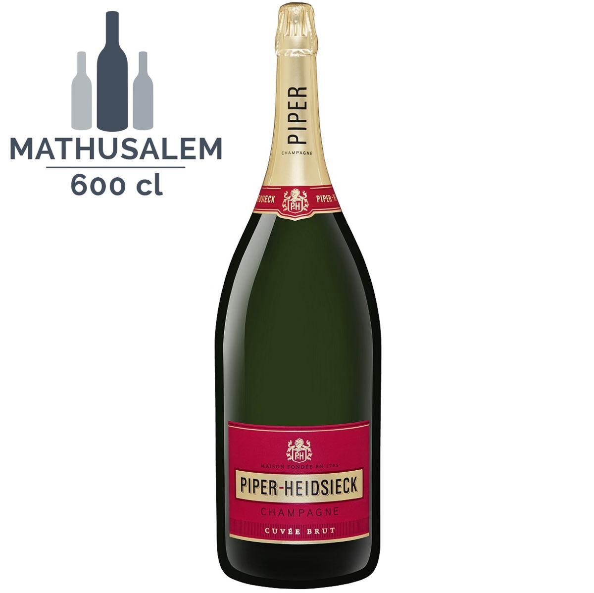Champagne PIPER-HEIDSIECK AVEC CAISSE BOIS, CUVÉE BRUT CHAMPAGNE AOP BLANC - Mathusalem 6 Litres