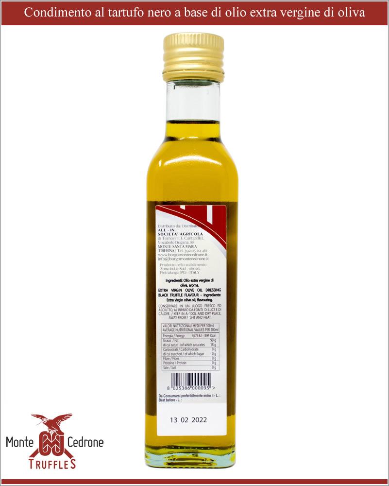 Huile d\' olive extra vierge aromatisée à la truffe Noire Monte cedrone