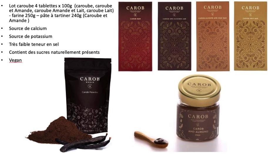 Lot Caroube tablette, farine pate à tartiner www.luxfood-shop.fr