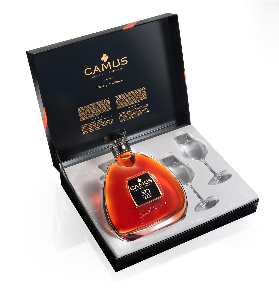 Coffret cadeau Cognac AOP CAMUS XO ELÉGANCE + 2 verres