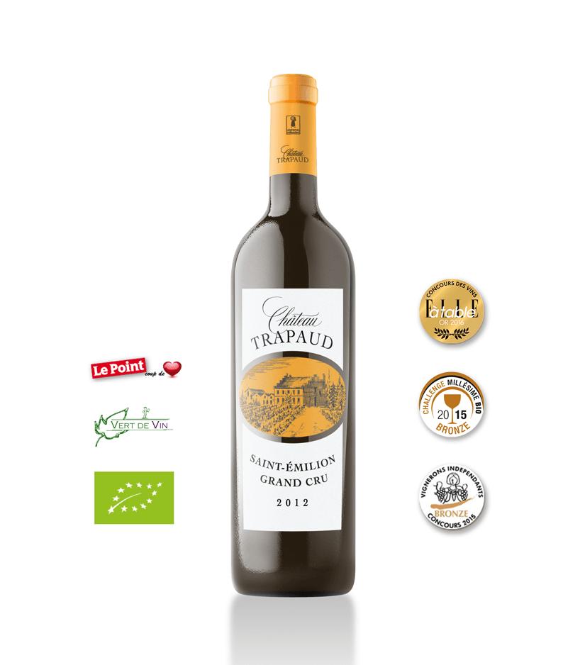 Château Trapaud 2012 Vin biologique Saint Emilion Grand Cru Rouge - carton de 6 bouteilles