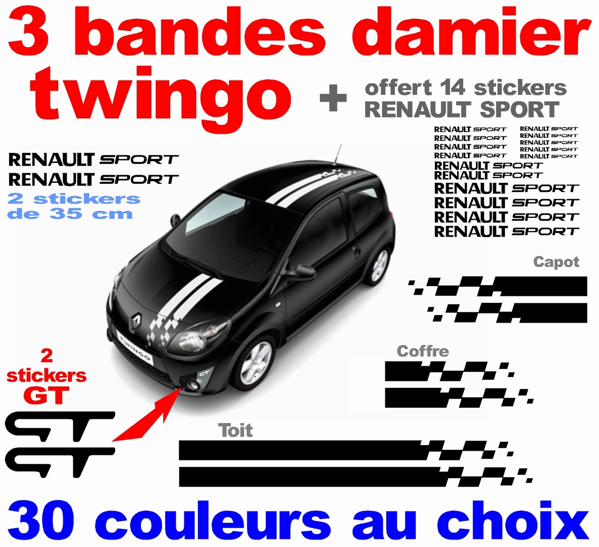 stickers-ref134a-bande-damier-twingo-gt-cadeaux-renault-sport-tuning-rallye-megane-clio4-c4-scenic-compétision-deco-adhesive-autocollant