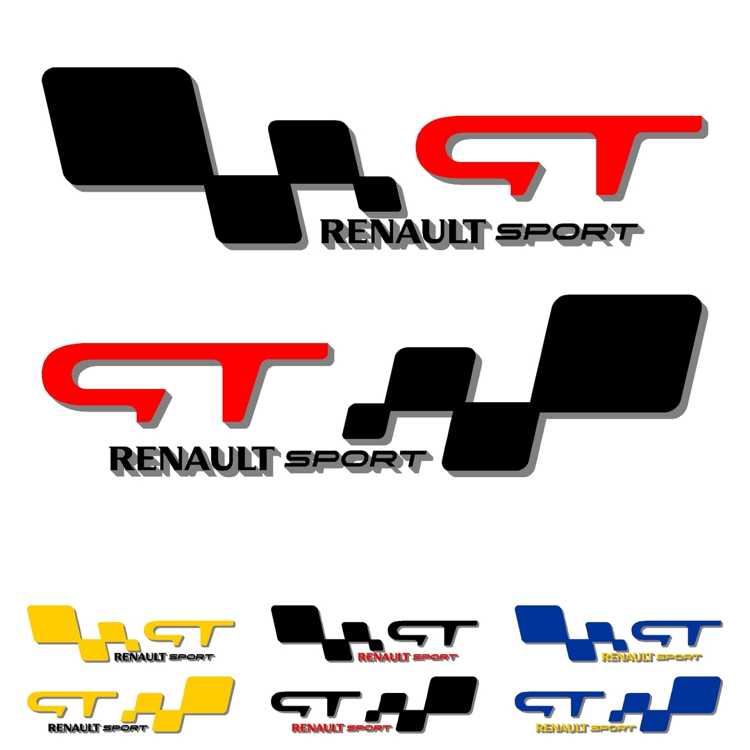 stickers-ref141-renault-sport-gt-damier-tuning-rallye-megane-clio-compétision-deco-adhesive-autocollant