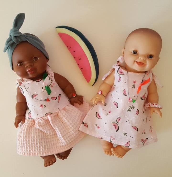 2 poupées plumetis pastèque