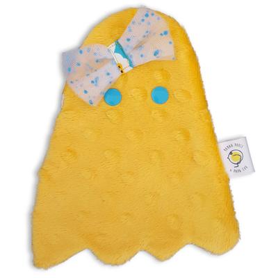 """Doudou """"Fantomette"""" jaune tout doux pour poupée"""