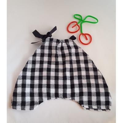 """Salopette poupée """"noeud"""" motif vichy noir et blanc"""