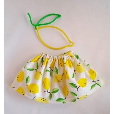 Jupe poupée motif citrons