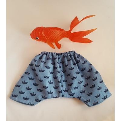 Pantalon motif origami en jean fluide