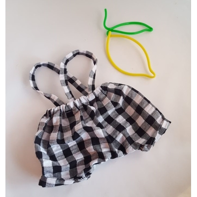 Pantalon à bretelles vichy noir et blanc