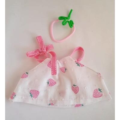"""Blouse poupée """"noeud"""" motif fraises"""