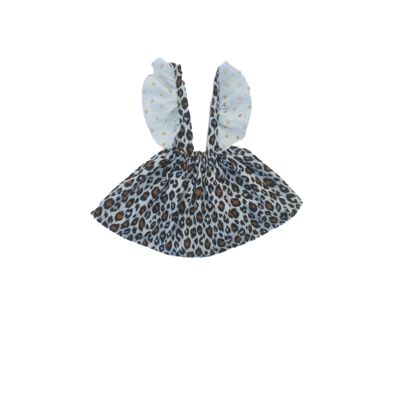 Jupe bretelle fauve blanche froufrou blanc