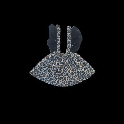 Jupe bretelles fauve blanche froufrou noir