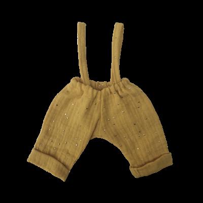 Pantalon bretelles gaze moutarde