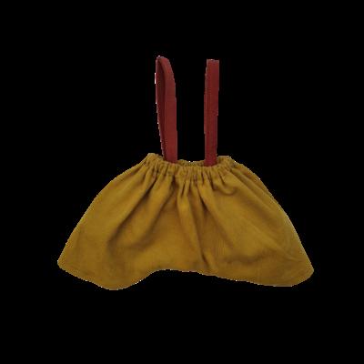 Pantalon moutarde bretelles brique