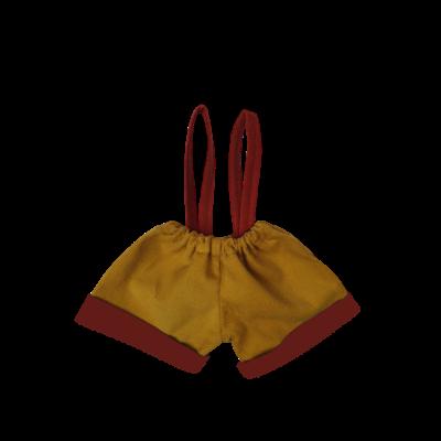 Short moutarde bretelles brique