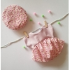 Robe corde linge béret rose