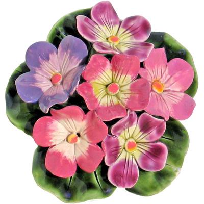Fleurs céramique socle de primeveres multicolores