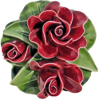Fleurs céramique socle boutons de roses rouge grenat
