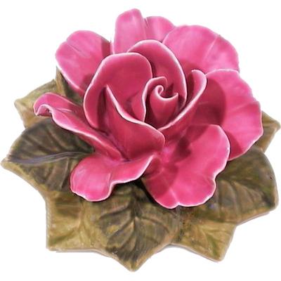 Fleur céramique socle de rose rose vif