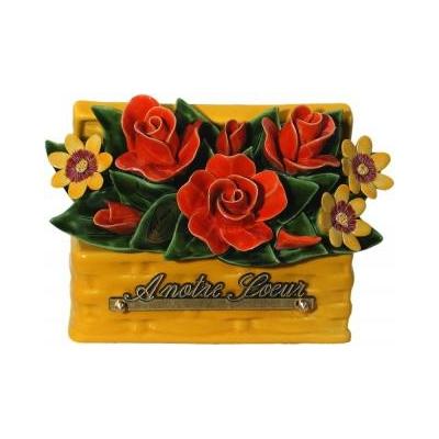 Fleurs céramique panier de nice roses et boutons saumon paquerettes jaunes