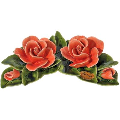 Fleurs céramique croissant 2 roses