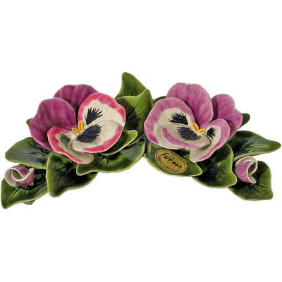 Fleurs ceramique croissant de 2 pensées