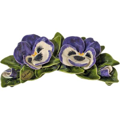 Fleurs céramique croissant 2 pensées