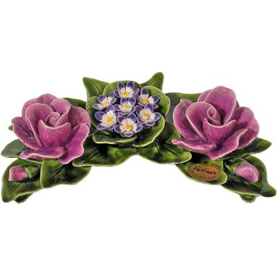 Fleurs céramique croissant roses et violettes