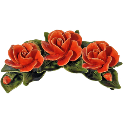 Fleurs céramique croissant 3 roses