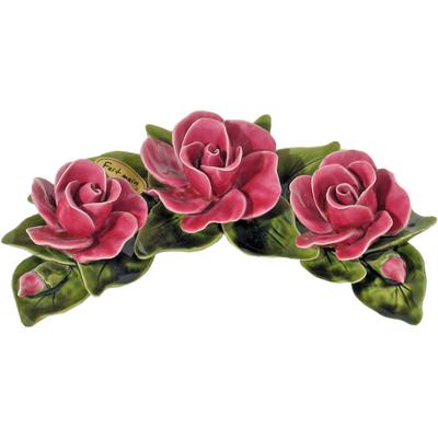 Fleurs céramique croissant de 3 roses