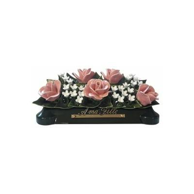 Fleurs céramique devant de tombe roses fleurettes
