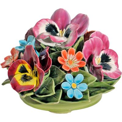 Fleurs céramique dessus de vases pensées marguerites