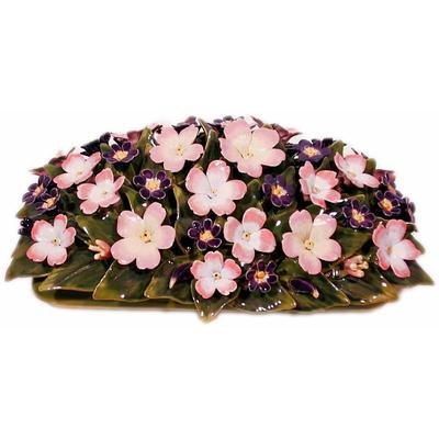 Fleurs céramique dessus de jardiniere eglantines fleurettes