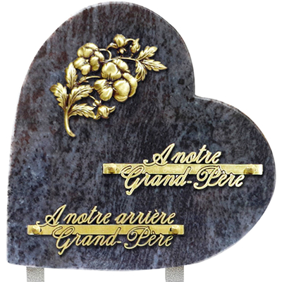 Plaque coeur granit 25x25 Mass blue