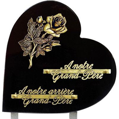 Plaque coeur granit 25x25 Noir absolu