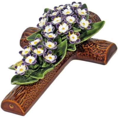 Fleurs ceramique croix violettes