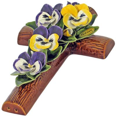 Fleurs ceramique croix pensées et boutons