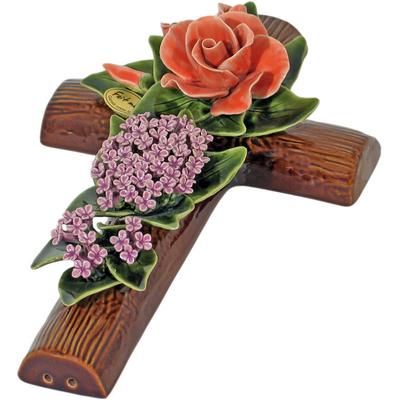 Fleurs ceramique croix roses lilas