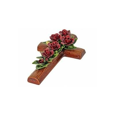 Fleurs ceramique croix roses et boutons de roses