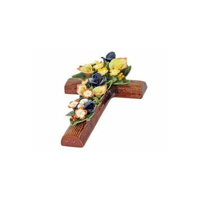 Fleurs céramique croix arums iris primevères